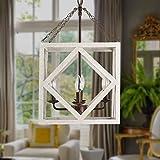 4-Light Rectangular Wood Candle Chandelier 4 Light Distressed White Wood Chandelier Pendant Light