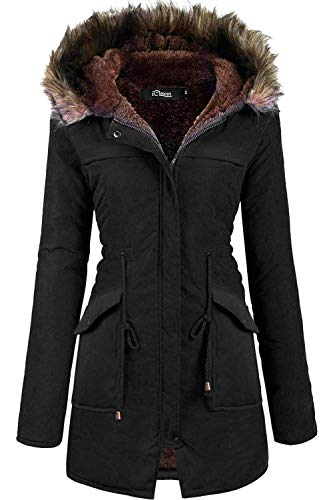 iClosam Women Hooded Warm Long Coats Faux Fur Lined Parka Anroaks Outdoor Jackets (Black, X-Large)