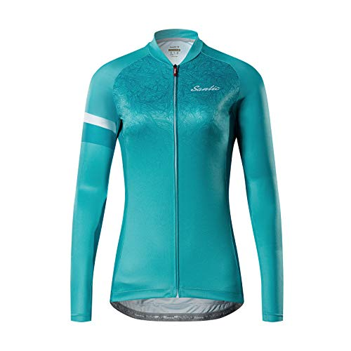 Santic Radtrikot Damen Lange Fahrradtrikot Damen Fahrradshirt Radshirt Kurzarm Sommer mit Taschen Blau EU L