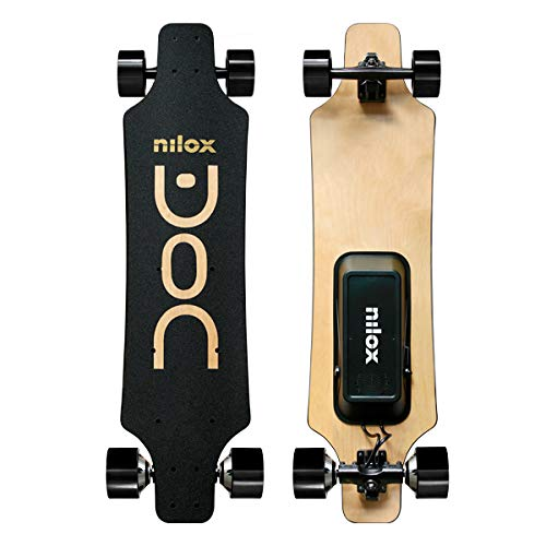 Nilox Unisex Youth DOC Longboard Electric, Schwarz/Gold, Universal*