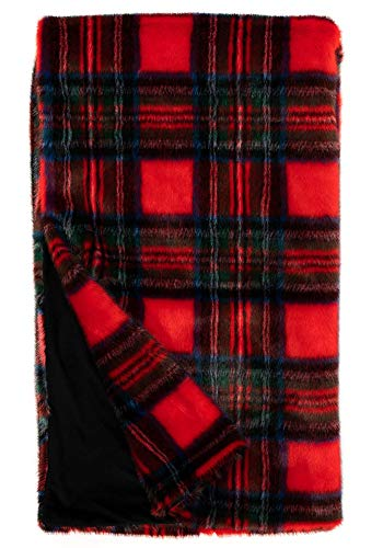Donna Salyers' Fabulous-Furs Holiday Collection Red Plaid Faux Fur Throw (60x72 in) (Red Plaid) -  Fabulous Furs