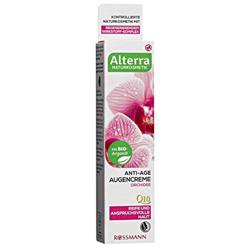 Alterra Anti-Age Augencreme Orchidee 15 ml für reife & anspruchsvolle Haut, mit BIO-Arganöl, mit Vitamin E & natürlichem Q10, Naturkosmetik