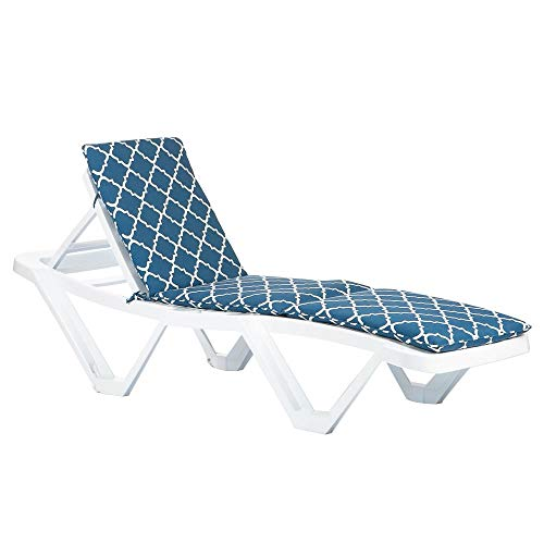 Resol Master Sun Lounger & Cushion Set - White/Navy Moroccan