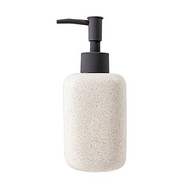 NeatBlanc Ceramic Liquid Soap & Lotion Dispenser Pump for Kitchen or Bathroom Countertops (Creamy White)