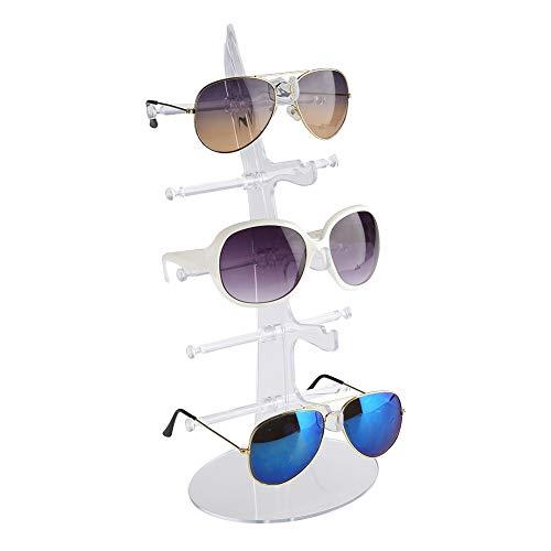 5 Pares de Plástico Anteojos Estante Gafas de Sol Soporte de Exhibición Rack Soporte de Almacenamiento Venta Mostrar Caso(Transparente)