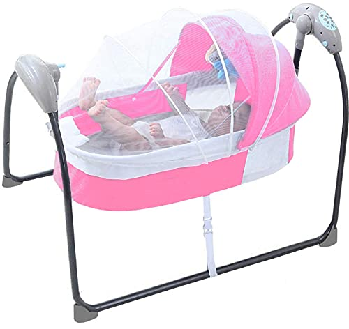 Electric Baby Swing Bed Cradle Bedside Bassinet Baby Swings for Infants Baby Auto Swings Sleeper Bluetooth Music Mosquito Net Pillow 5 Speed Cot Baby Rocker Swing Beds for Infants 0-12 Months Babies