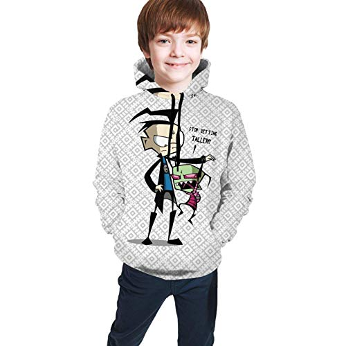 huatongxin Big Boy Mädchen Invader Zim 3D-Druck Pullover mit Tasche, Unisex Kid Hoodies Jugend Sweatshirts Kapuzenjacke Mantel