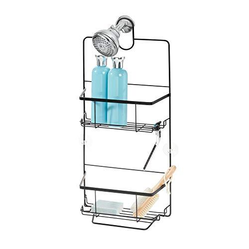 iDesign doucheplank om op te hangen, doucheplank van metaal met 2 manden, handdoekstang en scheerhouder, badkamerrek zonder boren voor shampoo, douchegel en zeep, matzwart