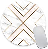 Modern Gold Cross Line Marble Design Round Mouse Pad,Beautiful Mouse Mat, Cute Mouse Pad with Design, Non-Slip Rubber Base Mousepad, Waterproof Office Mouse Pad, Small Size