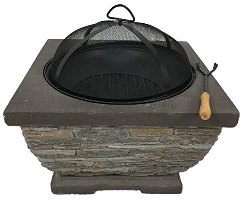 Auoeer Large Fire Pit, Black Enamel Brazier Heater, Multifunctional Camping Bowl BBQ, For Indoor Outdoor Garden Patio Grill Wood Charcoal
