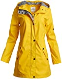 URBAN REPUBLIC Women?s Lightweight Hooded Raincoat Jacket with Cinched Waist, Size Large, Yellow/Stripes