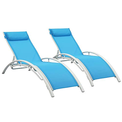 Adjustable Chaise Lounge Chairs Outdoor with Pillow, Set of 2, Blue, Aluminum, Zero Gravity