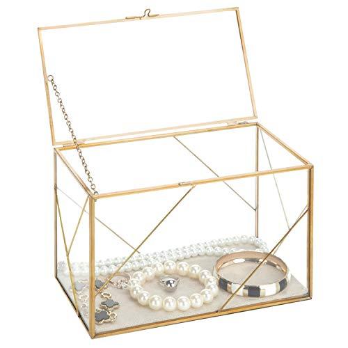 MyGift Geometric Glass & Brass Shadow Box, Jewelry Display Case Wedding Reception Gift Card Holder