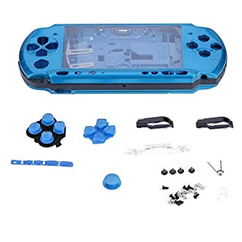 fosa Replacement Full Housing Console Game Shell Case Cover Back Repair Parts for PSP 3000/PlayStation Portable 3000 System Shock-Absorption and Anti-Scratch Design Blue  [Video Game]