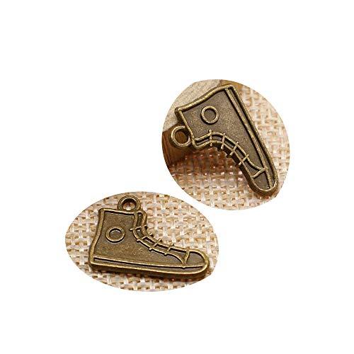 honggui 1111-30 Stück 15 x 20 mm doppelseitiger Rollschuh-Charm Skates Schuh-Charm doppelseitige Schuh-Charms (Antik-Bronze)