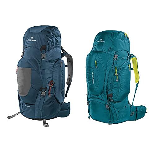 Ferrino Chilkoot, Zaino Da Trekking Unisex, Blu, 90 L & Transalp, Zaino Da Hiking Ed Escursionismo Unisex, Verde, 60 L