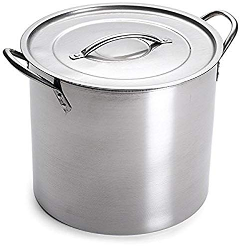 5 Gallon Stainless Steel Stock Pot with Lid, 12.5 x 12.5 x 11.5