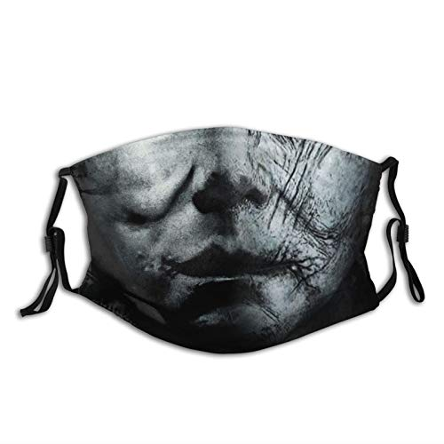 Michael Myers Halloween Face Mask Cover Fashion Bandanas Shield for Men Women Adult Dust Outdoors Sports with Protective 5-Layer Activated Carbon Filters