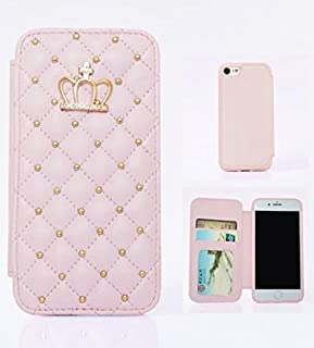for Samsung Galaxy Note 8, WwWSuppliers Crown Diamond PU Quilted Leather Bling Wallet Flip Case Fancy Thin Protector Luxur...