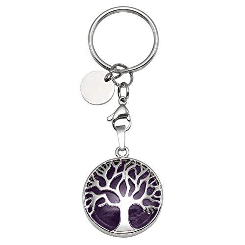 JOVIVI Silver Tree of Life Natural Amethyst Crystal Healing...