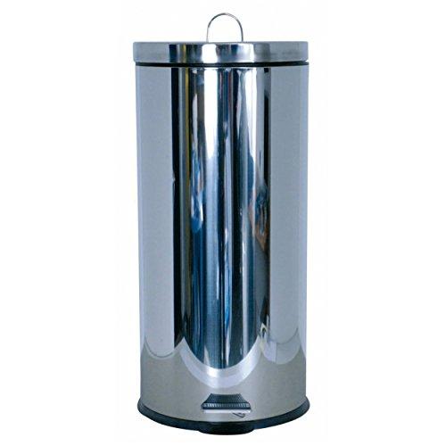 MSV 100359 Poubelle 30 litres, Plastique, Argent, 29x29x63 cm