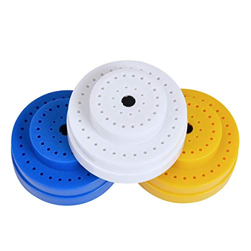 1 PCS Dental Bur Block Holder Case Autoclavable Round Shape Lab Bur Organizer Box Endo File Disinfection Box with 60 Holes Slots Color Random