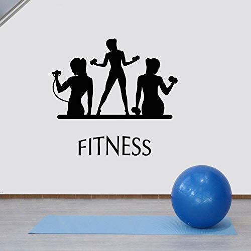 Calcomanía de pared deportiva para mujer,deporte,niña,hogar,Art Deco,inspiración para la salud,pegatina de vinilo,calcomanía artística A8,42x40cm