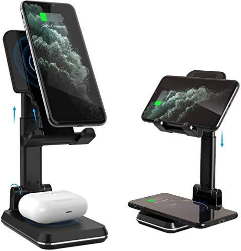 Lecone Caricabatterie Wireless 2 in 1, Ricarica Wireless per Telefono Cellulare Pieghevole da 10 W Supporto per Tablet Regolabile in Altezza per iPhone 12 / 11Pro / XS/XR/X, Samsung S10 / S9 / S8
