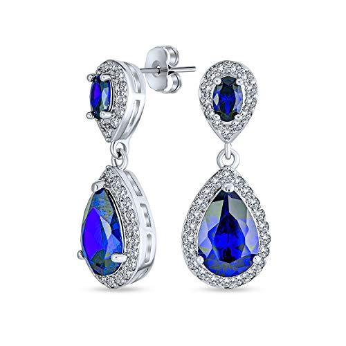 Blau Simulierte Saphir Pflaster Cz Halo Teardrop Birne Form Baumbild Drop Statement Ohrringe Für Frauen Prom Silber Vergoldet