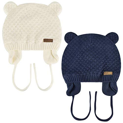 Yuson Gir Bonnet chaud en tricot pour bébé avec sangle Motif oreilles d'ours mignon à double couche en coton doux Bonnet avec sangle pour nouveau-né Bbay Garçons Filles - - 1-3 ans