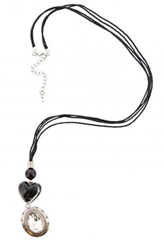 Lange Halskette (Leder) ca.90cm, Schwarz / Silber mit Herz und Kristall Amulett