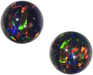 uGems 2 Black Created Opal Round Beads 8mm (2)