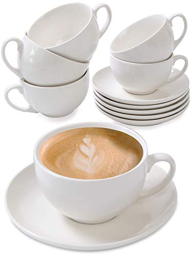 Cappuccino Tassen 6er Set aus Keramik Weiß - Mit Untertassen - Hält Lange warm - Spülmaschinenfest - 180ml