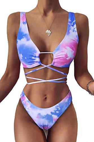 VNVNE Damen-Bikini-Set, Batik-Optik, zweiteilig, sexy Schnürung, hohe Taille, Tanga-Bikini-Set - Pink - Medium