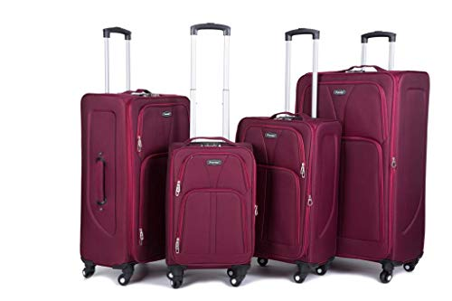 32' Extra Large 4 Wheel Spinner Soft Shell Suitcases Expandable Luggage Trolley (Burgundy, 20)