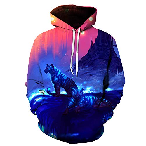 Hoodies pullover Unisex paar 3D fluorescerende tijgerprint mannen vrouwen lange mouwen sweatshirts uniform jumper outdoor vrije tijd club hip hop
