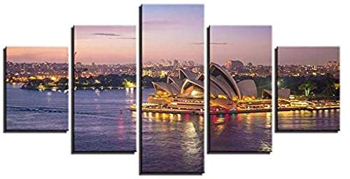 UOBSLBI - Wandbilder 5 Teilig - Opernhaus In Sydney - Ölgemälde Leinwand Kunst Leinwand Wandbild Kreatives Geschenk Wohnzimmer Wohnung Hotel Firma Dekoration Ornamente (Mit Rahmen)