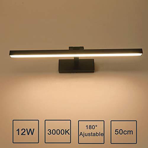 Yafido LED 12W Badleuchte 1000Lumen 50CM 230V 3000K Spiegelleuchte Badlampe Spiegellampe Warmweiß badezimmer Schrankleuchte Nicht-dimmbar