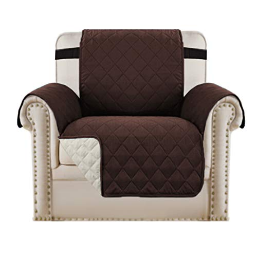 Reversible Chair Cover for Dogs Pet Sofa Protector Chair Slipcover 2' Thick Straps Slip-Resistant Chair Protector Soft Quilted Cotton Alike Seat Width Up to 21' (Chair, Brown/Beige)