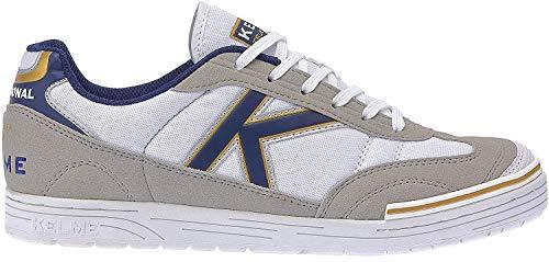 Kelme Trueno Sala, Botas de fútbol Unisex Adulto, Blanco (White/Azul), 45 EU