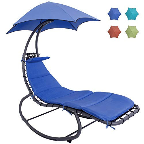 HARBOURSIDE HAMMOCKS Patio Hammock Chair with Stand and Canopy/Umbrella, Outdoor Swing Chaise Lounge with Stand, Free Standing Rocking Lounger Chair with Cushion and Pillow for Adults, Outside