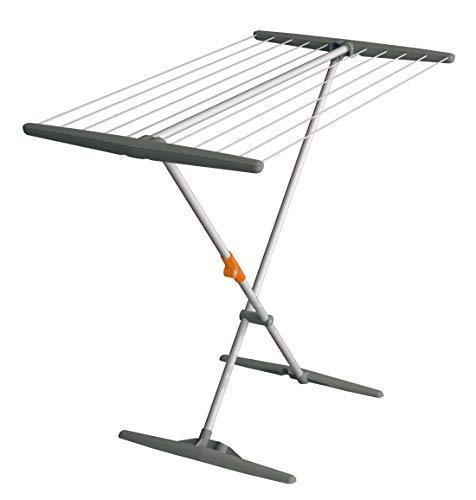 Juwel 40805 Superdry Basic Séchoir à Linge (avec Corde à Linge, Longueur de séchage 11 m, Couleur Gris, Aluminium, pour Salle de Bain + Balcon)