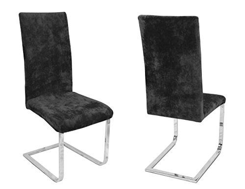 BEAUTEX 2er Set Stuhlhussen, elastische Stretch Hussen Bi-Elastic, Motiv und Farbe wählbar (Motiv Maya, Farbe Schwarz)
