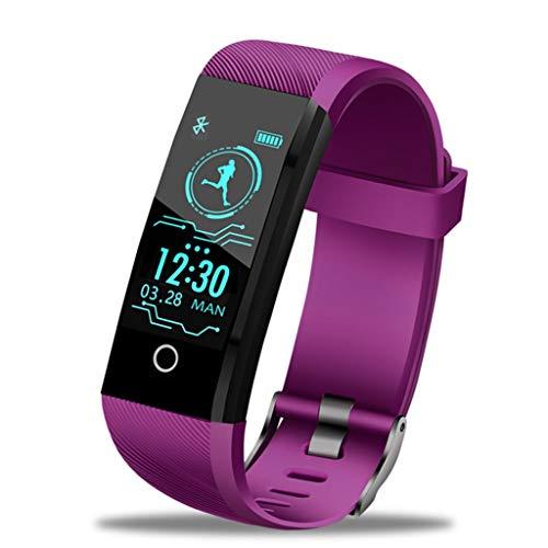 2019 New IP68 waterdicht intelligente horloge hartslagmonitor gezondheid bloeddrukfunctie voor Android iOS Fitness Tracker Watch + Box (kleur: paars)