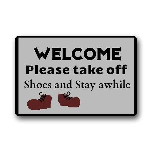 "ZMvise - Felpudo de franela lavable a medida, con texto en inglés ""Welcome Please Take Off The Shoe"", 15 x 60 cm"