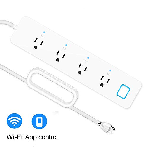 LINGANZH Smart Power Strip Surge Protector WiFi Extension Socket, Compatible with Amazon Alexa and Google Home, Smartphone App Control Appliances, Individual Control, Timing Schedule, No Hub Required