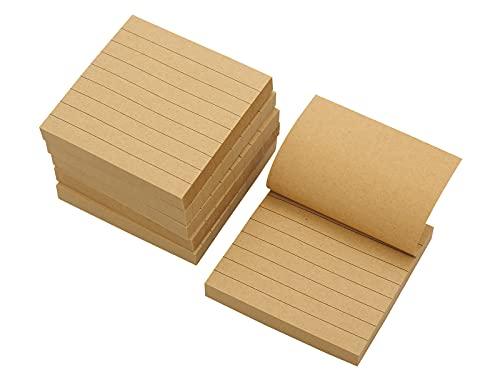 TSUKURIRO 付箋 罫線 入り クラフト紙 ToDo メモ ノート 75mm x 75mm 80枚 6冊セット