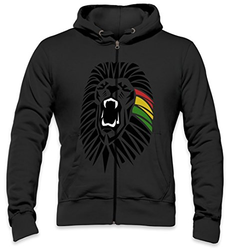 Roaring Lion Head Tattoo Junglist Movement Mens Zipper Hoodie X-Large