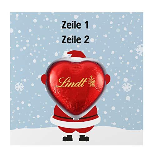 Herz & Heim® Pralinen zu Weihnachten - Süße Grüße - Grußkarte inkl. Lindt Schokoladen-Herz mit Wunschnamen Weihnachtsmann