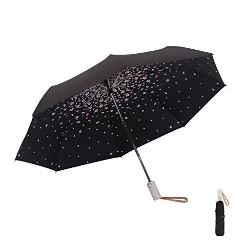 Meiyijia Regenschirm - UV-undurchlässig inkl,Wasserabweisende Teflon-Beschichtung,Auto Offene & Close, Leicht & Kompakt (Schwarz + Kirschblüte)